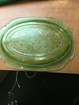 "Green Art Deco Glass Tray Vanity Plate Dressing Uranium Glass 11.4"" x 8.2"""