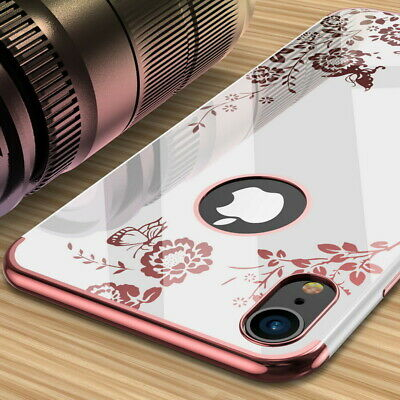 Shockproof Slim Plating Flower Pattern Soft Case Cover For iPhone XS Max XR 7 6s
