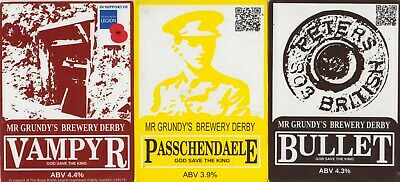 Three Beer Pump Clips From Mr Grundy's Brewery Derby