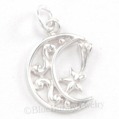CRESCENT MOON & SHOOTING STAR 925 Sterling Silver Pendant Charm Celestial