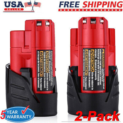 2X For Milwaukee 48-11-2411 M12 12V Li-ion Compact Battery Pack 2.5Ah 48-11-2420