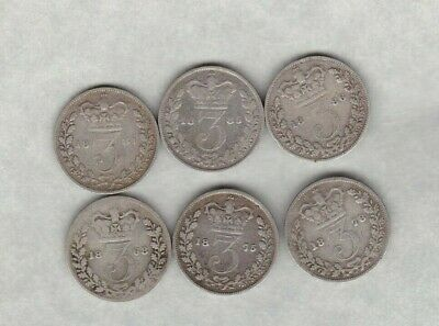 Six Victoria Silver Three Pence Coins 1868 To 1886 In A Used Condition