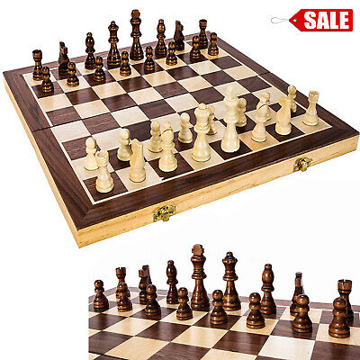 """Wooden Chess Game Set Large 15"""" Board Wood Folding Storage Box Hand Carved Piece"""