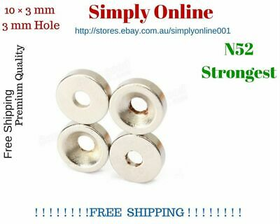 10x3mm Rare Earth Strong Magnet Disc with Hole Round Cylinder Neodymium N 52
