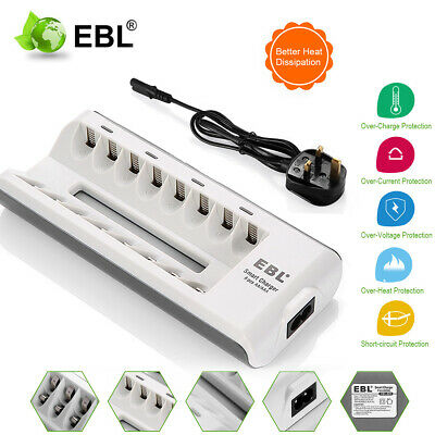 8 Slots Smart Fast Battery Charger For AA AAA Ni-MH Ni-CD Rechargeable Batteries