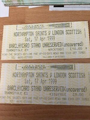 Used  Northampton Saints V London Scottish Tickets 1999