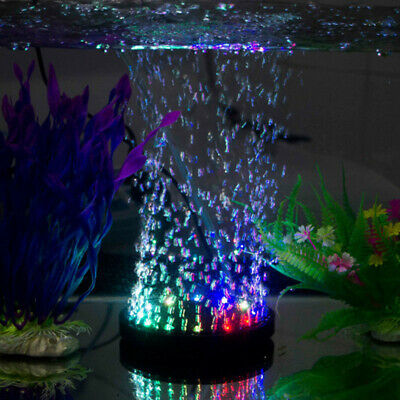 Aquarium Fish Tank Air Curtain Bubble Stone Disk with Multi-color LED Light