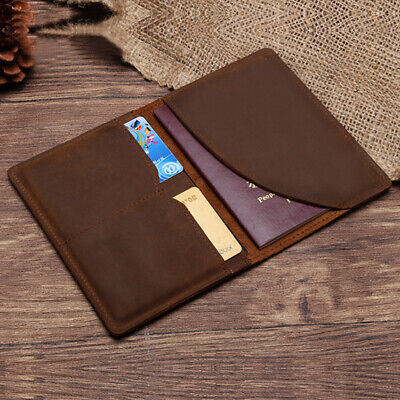 CLASSIC LEATHER PASSPORT HOLDER WALLET CASE COVER TICKET TRAVEL BROWN BAG New.