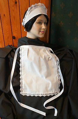 APRON & SCARF HAT WHITE, LACE TRIMMED  PINNY 68 inch waist HANDMADE FRENCH MAID