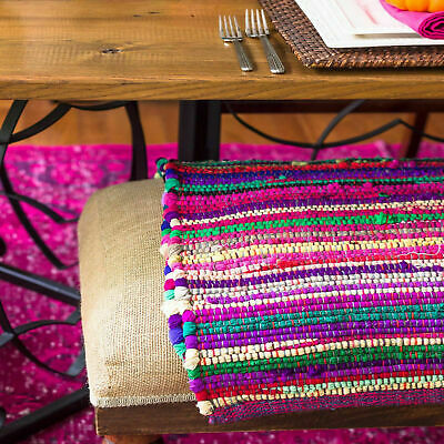 Small Large Handmade Indian Chindi Rag Rugs Carpet Woven Loom Recycled Door Mats