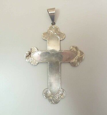 Huge Antique Hand Carved Sterling Silver Budded Cross Pendant 4 5/8 Inches Long