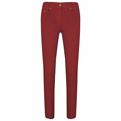 Kids Girls Skinny Jeans Red Stretchy Denim Jeggings Fit Pants Trousers 5-13 Year