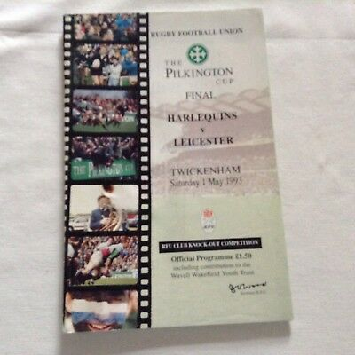 rugby programme pilkington cup final at twickenham harlrquins v leicester