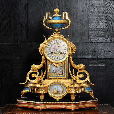 Japy Freres Ormolu and Sevres Porcelain Antique French Clock Superb Dog C1890