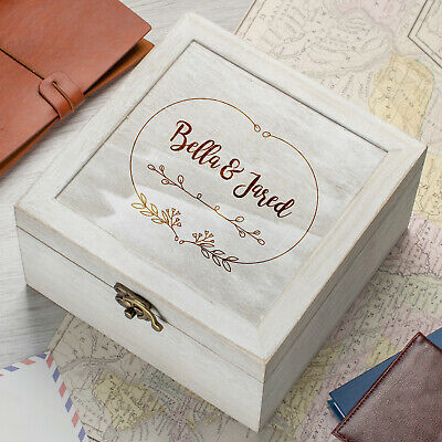 Personalised Wooden Keepsake Box Wedding Memory Engraved Gifts Any Name