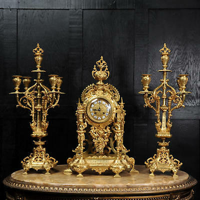 Large Gilt Bronze Clock Set With Visible Pendulum Antique French C1870