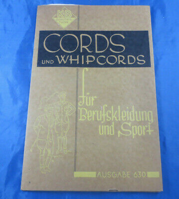 Seltenes Stoff - Musterbuch Stoffmuster um 1937 Cords und Whip-Cords Beruf Sport