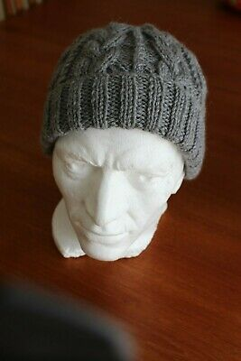 06d1be6cea7a6 New Hand Knitted Dark Grey Aran Beanie Hat with rib turn up Wool blend  cables