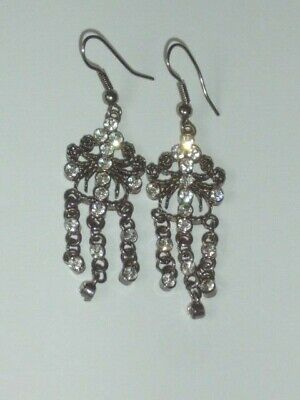 Antique Victorian STYLE White Diamante Scrolled Pewter Col Chandelier Earrings