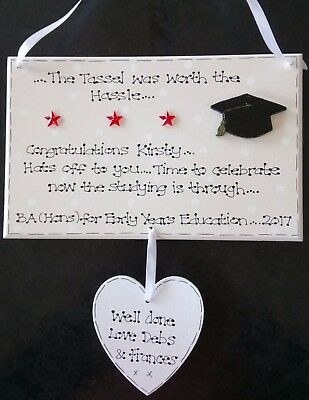 Graduation personalised gift 12x8 wooden plaque shabby vintage sign university