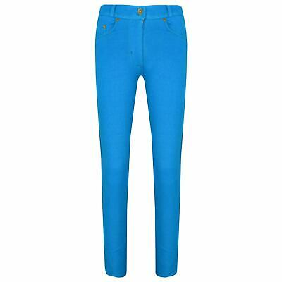 Kids Girls Skinny Jeans Turquoise Stretchy Denim Jeggings Pants Trousers 5-13 Yr