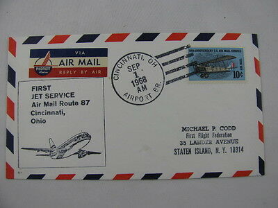 FFC First Flight Cover USA Route 87 Plane Cincinnati Ohio Norfolk Virginia 1968