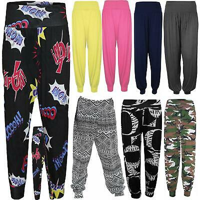 Girls Printed Ali baba Harem Trousers Kids Plain Stretchy Baggy Pants Leggings
