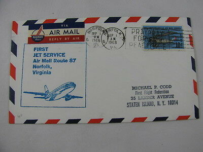 FFC First Flight USA Jet Service Route 87 Airplane Norfolk Virginia Memphis 1968