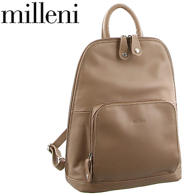 Milleni Women's Twin Zip Backpack Nappa Italian Leather Rucksack Travel - Taupe