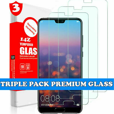 TRIPLE PACK Tempered Glass Screen Protector Clear for Huawei P20 Pro Lite