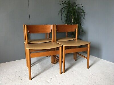 Lovely Vintage GFM Poland Mid Century Teak Four Dining Chairs 4