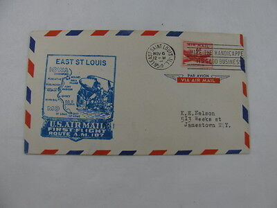 FFC Flight Air Mail Route AM 107 Plane East Saint Louis Moline Illinois 1950