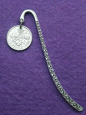 Birthday gift 1920-1967 lucky Sixpence coin Bookmark  80th 75th 70th 65th 60th
