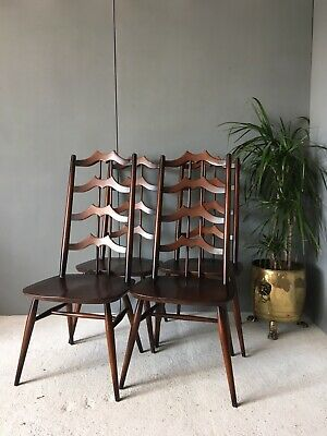 Fabulous Vintage Set Rare Ercol #496 Four Gothic Elm Dining Chairs 4