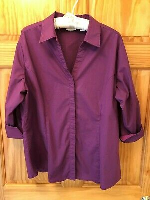 RIDERS by LEE Cotton Blend 'Easy Care' Purple Shirt - Woman's Plus Size XXL