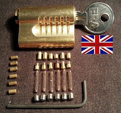 CUTAWAY RE-PINNABLE *ULTIMATE CHALLENGE* PRACTICE LOCK + extra pins British Made