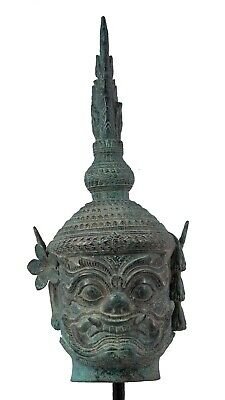 Antique Angkor Wat Style Bronze Khmer Temple Guardian Head  - 59cm/24""