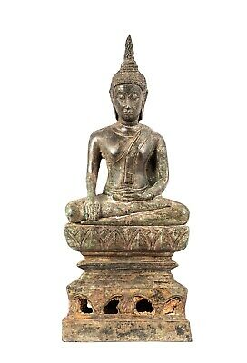 Antique 19th Century Thai Bronze Sukhothai Enlightenment Buddha - 29cm/12""