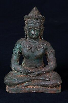 Antique Thai Style Seated Lopburi Meditation Buddha Statue - 18cm/7""