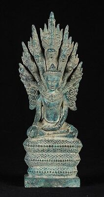 Antique Khmer Style Bronze Enlightenment Baphuon Naga Buddha Statue - 38cm/15""