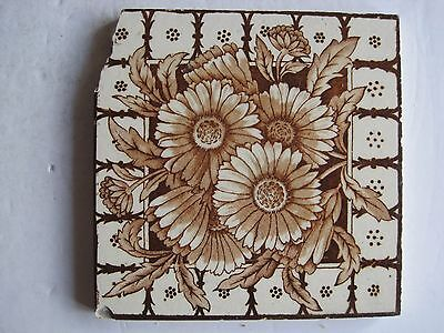 Antique Victorian J.h. Barratt Floral Transfer Print Wall Tile Brown On Cream