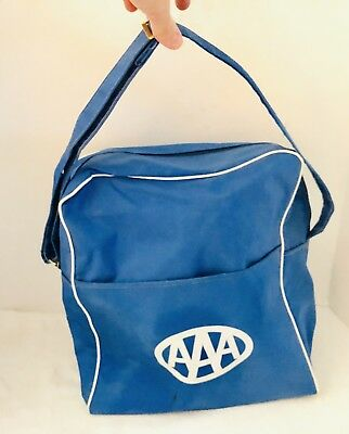 Vintage AAA Travel Agency Blue Shoulder Bag  Retro Carry On Overnight Luggage