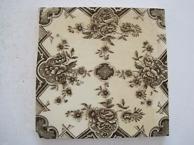 ANTIQUE VICTORIAN WALL TILE BROWN TRANSFER - HENRY RICHARDS PATT.5017 c1902-09
