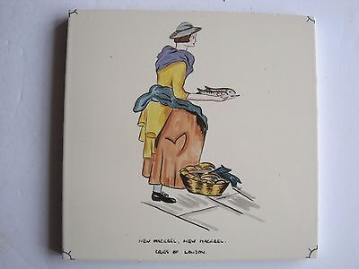 "VINTAGE CARTER ""CRIES OF LONDON"" TILE - NEW MACKREL, NEW MACKREL c1955"