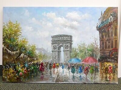 French Street Scene Original Canvas Painting Signed Duford 3 x 2ft Unframed Art