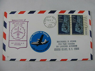 FFC First Flight Cover USA AM 8 Hercules Hot Springs National Park Houston 1969