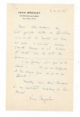 Aviation / Louis-Charles Breguet / Lettre Autographe (1925) / Air France