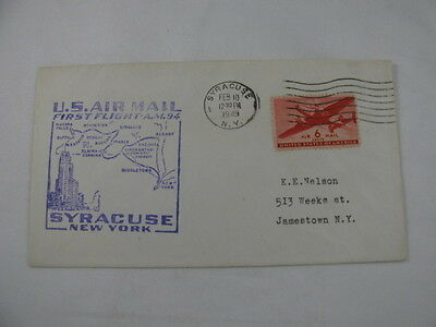 FFC First Flight Cover USA Route AM 94 Syracuse Johnson City 1949