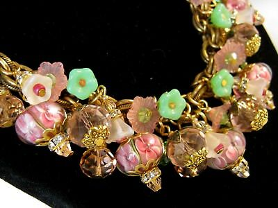 Chunky Glass Charms Necklace Pink Crystal Cluster w Vintage Miriam Haskell Chain
