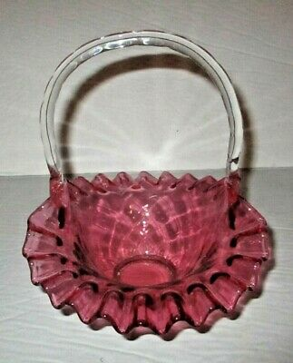 Victorian Cranberry Art Glass Basket Quilted Ruffled Applied Handle Antique